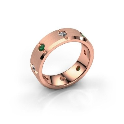 Men's ring Irwin 375 rose gold emerald 2.7 mm