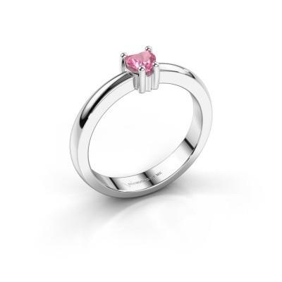 Foto van Aanzoeksring Florentina heart 585 witgoud roze saffier 4 mm