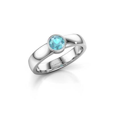 Foto van Ring Ise 1 585 witgoud blauw topaas 4.7 mm