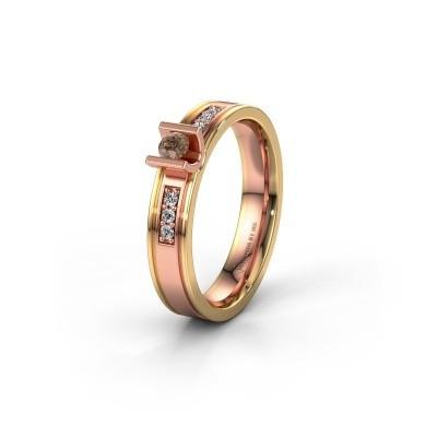 Trouwring WH2108L14A 585 rosé goud bruine diamant ±4x1.7 mm