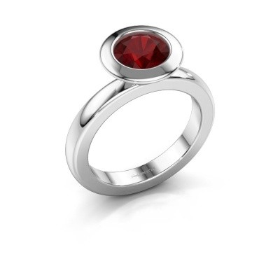 Stacking ring Trudy Round 925 silver ruby 7 mm