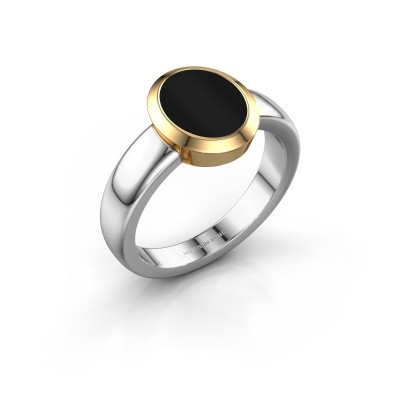 Zegelring Freeda 1 585 witgoud onyx 10x8 mm