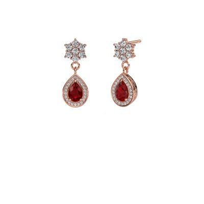 Drop earrings Era 585 rose gold ruby 6x4 mm
