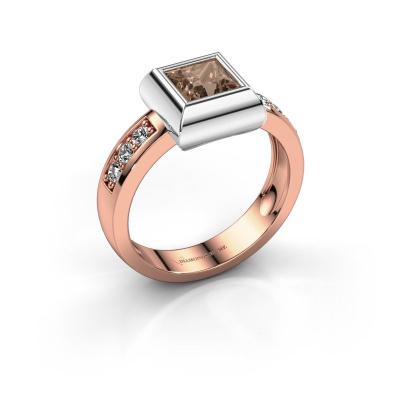 Ring Charlotte Square 585 rose gold brown diamond 0.78 crt
