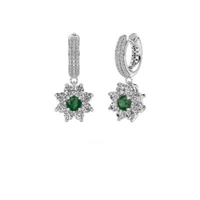 Picture of Drop earrings Geneva 2 950 platinum emerald 4.5 mm