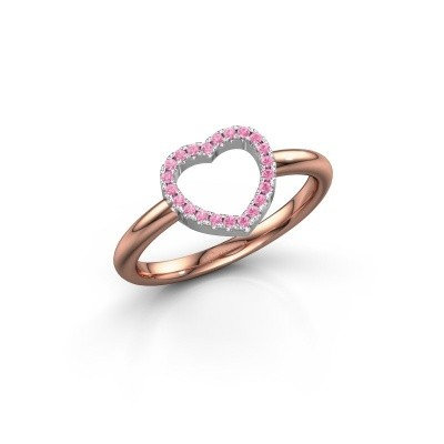 Foto van Ring Heart 7 585 rosé goud roze saffier 1 mm