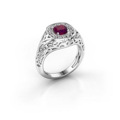 Men's ring Quinten 950 platinum rhodolite 5 mm