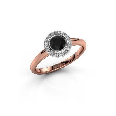 Promise ring Noud 1 RND 585 rose gold black diamond 0.53 crt