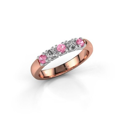 Foto van Ring Rianne 5 585 rosé goud roze saffier 2.7 mm