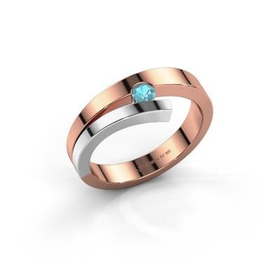 Foto van Ring Rosario 585 rosé goud blauw topaas 3 mm