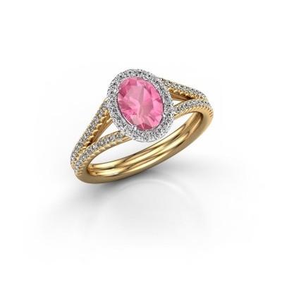 Verlobungsring Rachele 2 585 Gold Pink Saphir 7x5 mm
