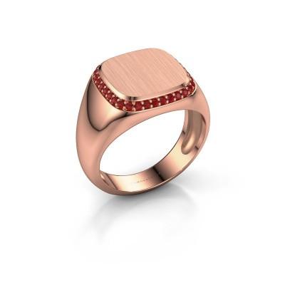 Heren ring Jesse 1 375 rosé goud robijn 1.2 mm