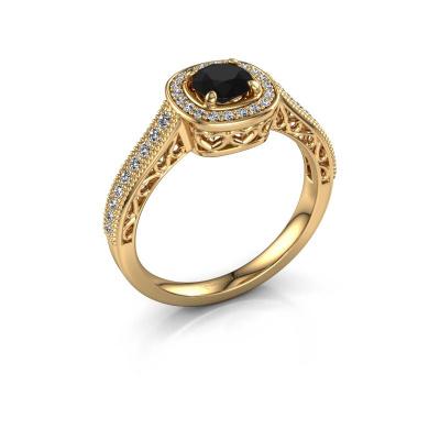 Engagement ring Candi 375 gold black diamond 0.875 crt