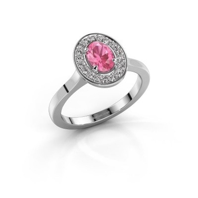 Foto van Ring Madelon 1 925 zilver roze saffier 7x5 mm