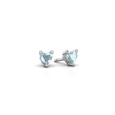 Picture of Stud earrings Garnet 925 silver aquamarine 4 mm