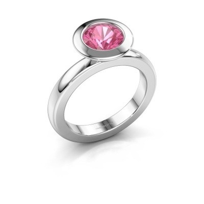 Stapelring Trudy Round 585 witgoud roze saffier 7 mm