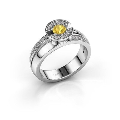 Picture of Ring Jeanet 2 950 platinum yellow sapphire 4 mm