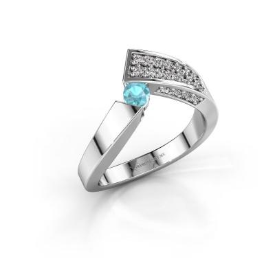 Ring Evie 585 white gold blue topaz 3.4 mm