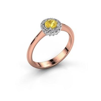 Foto van Verlovingsring Anca 585 rosé goud gele saffier 4.2 mm