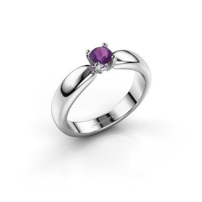Promise ring Katrijn 585 witgoud amethist 4.2 mm