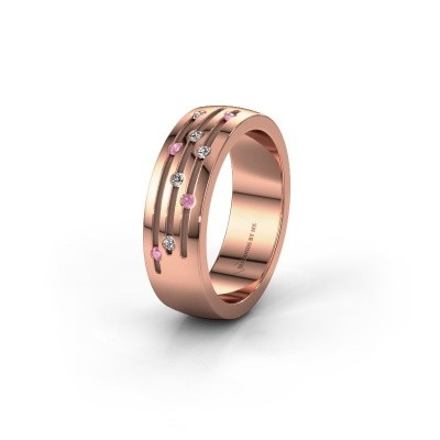 Wedding ring WH0134L26B 375 rose gold pink sapphire ±6x2 mm