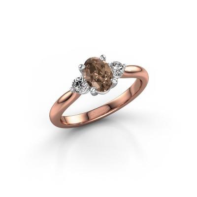 Foto van Verlovingsring Lieselot OVL 585 rosé goud bruine diamant 0.76 crt