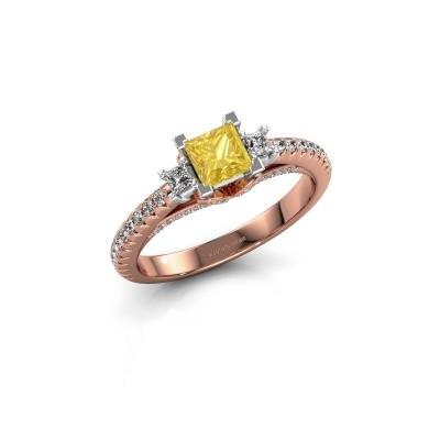 Verlovingsring Valentina 585 rosé goud gele saffier 4.25 mm