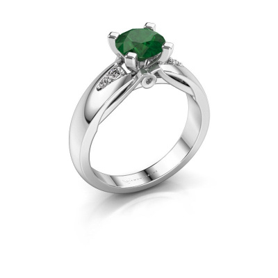 Verlovingsring Ize 585 witgoud smaragd 6.5 mm