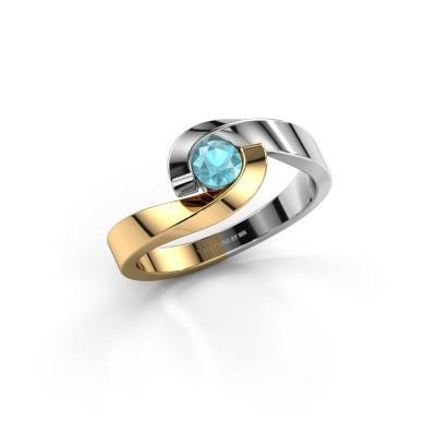 Foto van Ring Sheryl 585 goud blauw topaas 4 mm