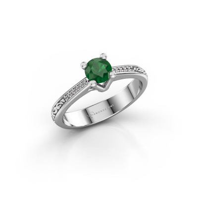 Picture of Engagement ring Mei 925 silver emerald 4.7 mm