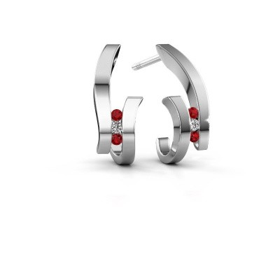 Earrings Juliette 585 white gold ruby 1.5 mm