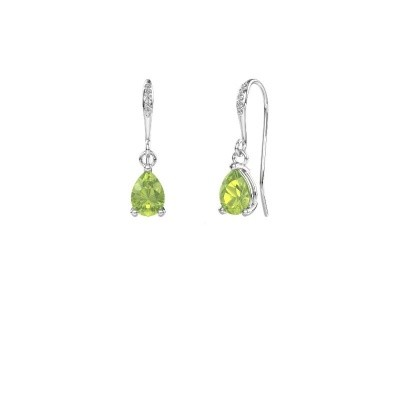 Picture of Drop earrings Laurie 2 375 white gold peridot 7x5 mm