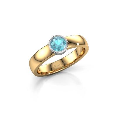 Ring Ise 1 585 goud blauw topaas 4.7 mm