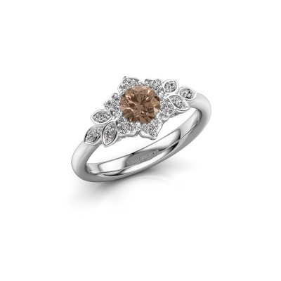 Foto van Verlovingsring Tatjana 585 witgoud bruine diamant 0.635 crt