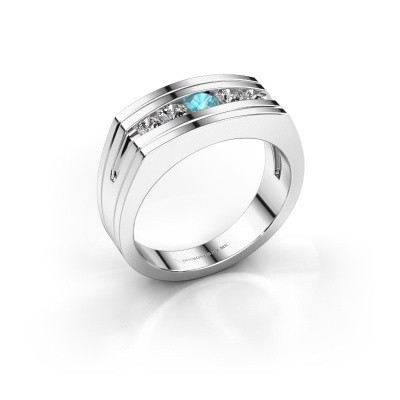 Picture of Men's ring Huub 585 white gold blue topaz 3.7 mm