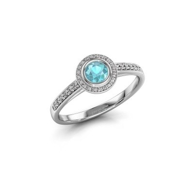 Engagement ring Noud 2 RND 585 white gold blue topaz 4 mm