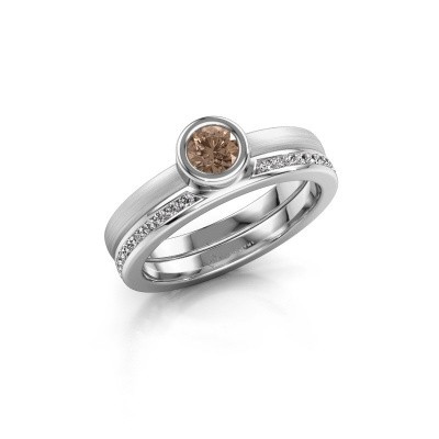 Picture of Ring Cara 585 white gold brown diamond 0.62 crt