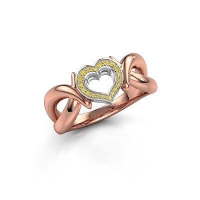 Ring Earlie 1 585 rosé goud gele saffier 1.1 mm