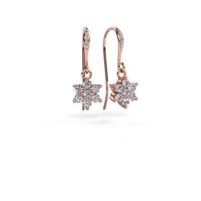 Picture of Drop earrings Dahlia 2 375 rose gold zirconia 2.2 mm