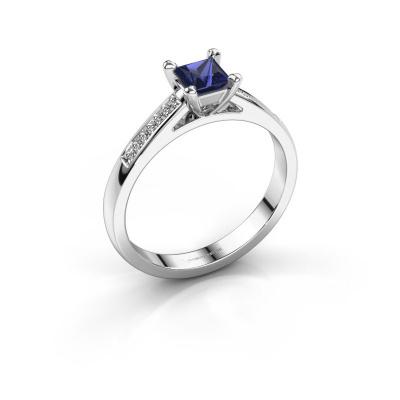Engagement ring Nynke SQR 585 white gold sapphire 4 mm