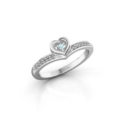 Ring Mimi 585 witgoud aquamarijn 2 mm