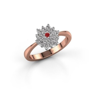 Engagement ring Vickey 1 585 rose gold ruby 1.8 mm
