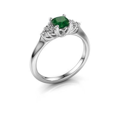 Verlovingsring Felipa CUS 950 platina smaragd 5 mm