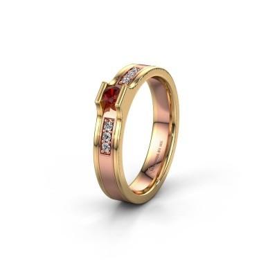 Trouwring WH2110L14A 585 rosé goud granaat ±4x1.7 mm