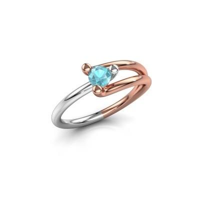 Foto van Verlovingsring Roosmarijn 585 rosé goud blauw topaas 4 mm