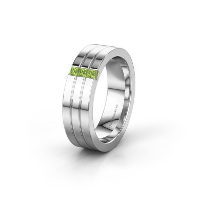 Wedding ring WH0428L16BP 585 white gold peridot ±0.24x0.08 in