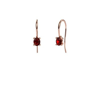 Drop earrings Cleo 375 rose gold garnet 6x4 mm