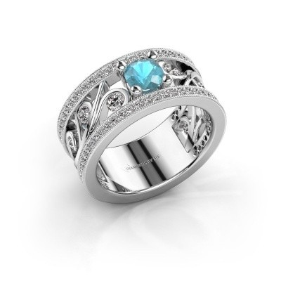Foto van Ring Sanne 585 witgoud blauw topaas 5 mm