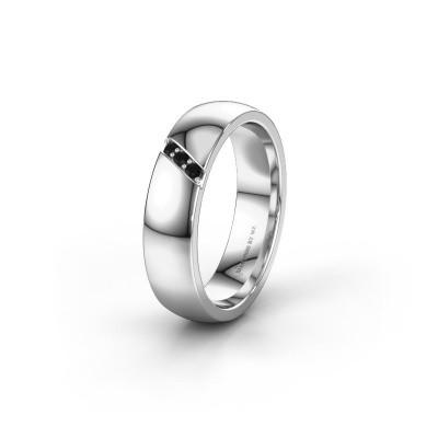 Trouwring WH0174L25BP 585 witgoud zwarte diamant ±5x2 mm