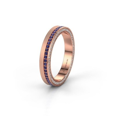Wedding ring WH2214L15BM 375 rose gold sapphire 1 mm ±5x2 mm